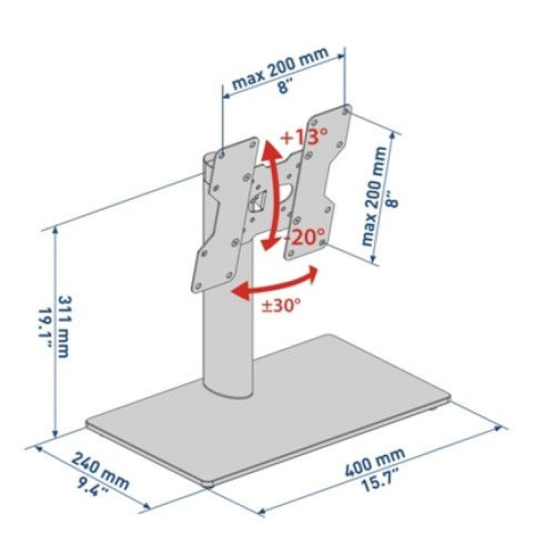 Stand Tv cu picior ajustabil ( 14-40 inch )Meliconi,STAND 100-200