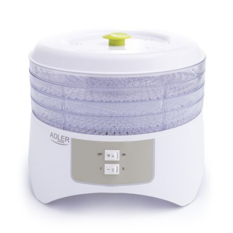 Deshidrator de alimente ADLER AD 6654, 400 W, 4 Tavi, 2 Trepte temperatura, Alb