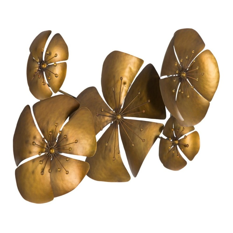 Panou metalic decorativ perete, 3D, FLOWER GOLDY, 94*6*50cm
