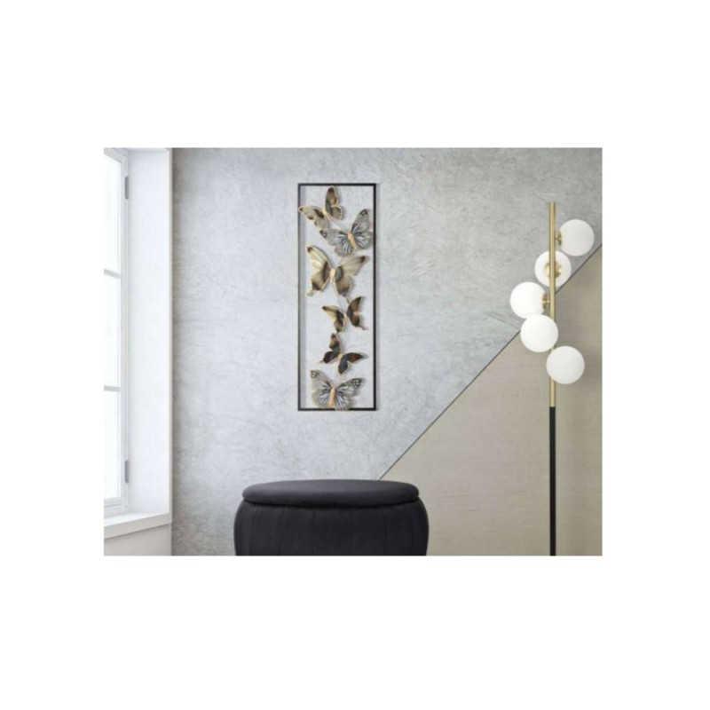 Panou metalic decorativ perete, 3D, FLUTURI, 31*2,5*90cm