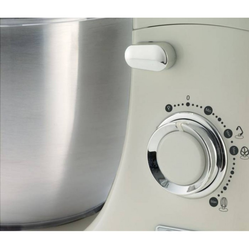 Mixer cu bol Ariete1588CR/BG Vintage, 1000 W, Bol detasabil 5.5 l, 10 viteze + Pulse, Crem/ Beige