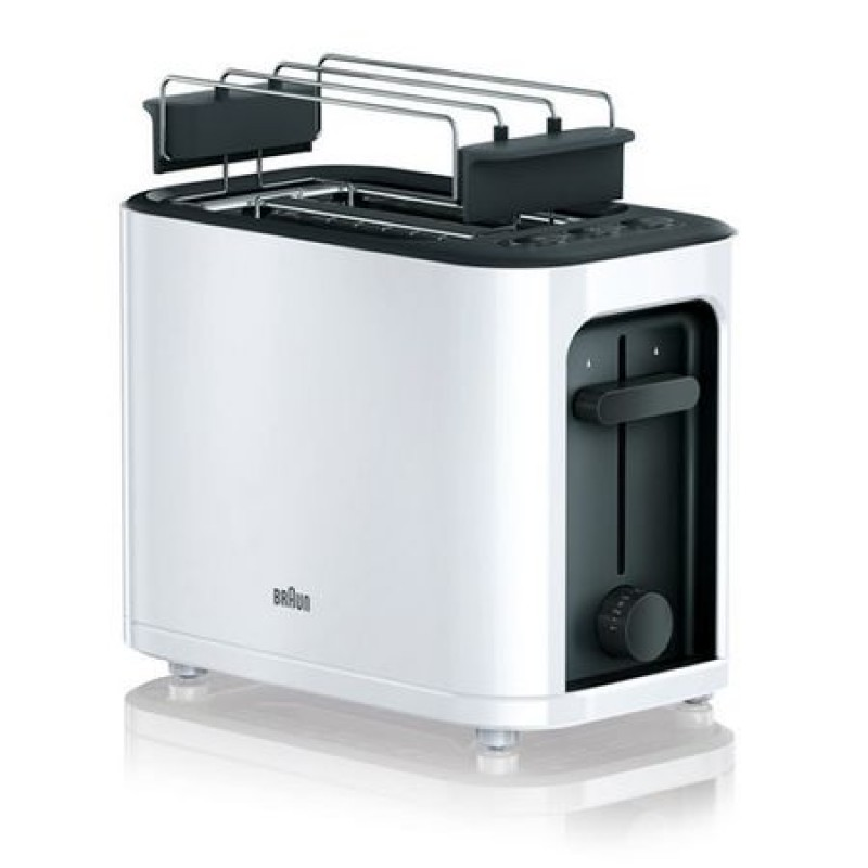 Prajitor de paine Braun HT3010Wh, 2 felii, 1000 W, Functie decongelare , incalzire si anulare, Alb