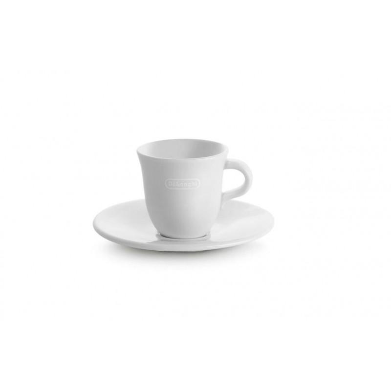 Set Doua Cesti Si 2 Farfurii Espresso Delonghi, Din Portelan Alb Confectionat Manual