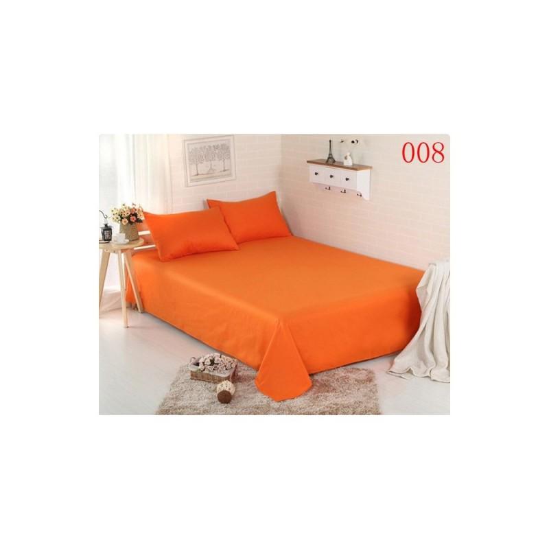 Set 3 Piese Yuny Mally Home, 100% Bumbac, Cearceaf Pat Dublu Cu Elastic 160X200 Cm Si Doua Fete De Perna 50X70Cm, Orange