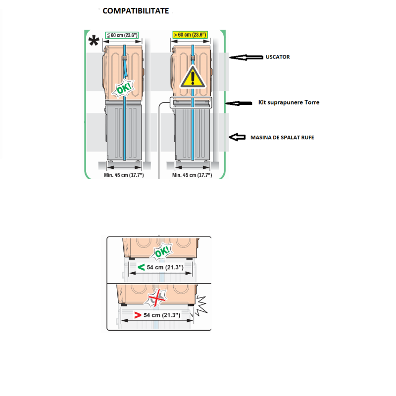 Kit universal de suprapunere a masinii de spalat si a uscatorului de rufe + suport retractabil, Meliconi, TORRE PRO L60