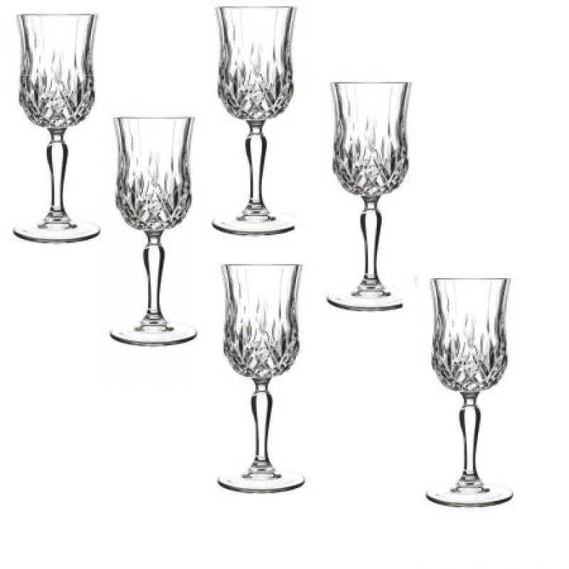 Set 6 pahare cu picior pentru vin Opera, Rcr Crystal