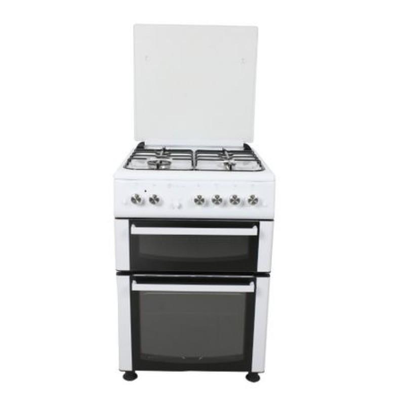 Aragaz mixt Studio Casa Duetto FM60/60 cm., 2 cuptoare: Cuptor electric + Cuptor gaz, 4 arzatoare gaz, Aprindere electrica, Alb