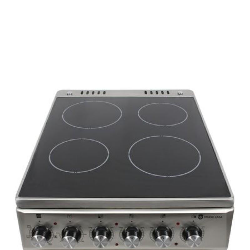 Aragaz electric Studio Casa Mercur 4Z Fan 50/60 cm, Cuptor electric, Plita vitroceramica cu 4 zone de gatire, Ventilator, Inox