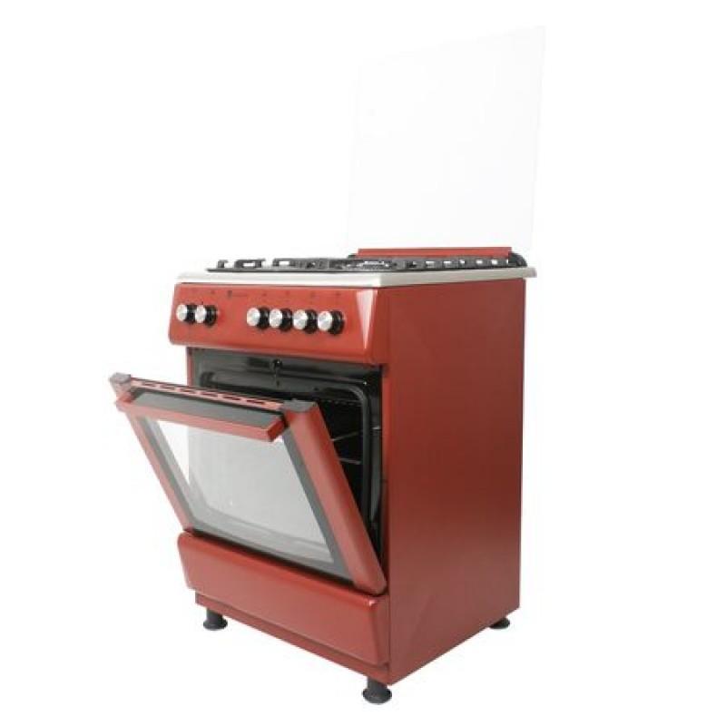 Aragaz Studio Casa Peony 4G 60/60 cm, Cuptor gaz, 3 arzatoare gaz +1 Wok, Grill electric, Gratare fonta, Aprindere electrica, Valve de siguranta, Rosu Burgund/ Inox