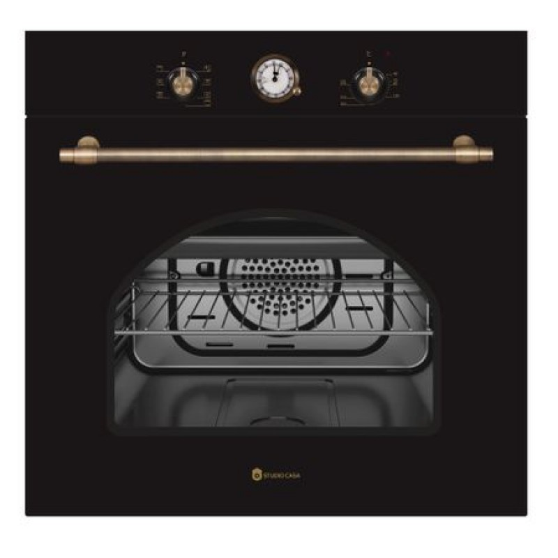 Cuptor electric incorporabil rustic Studio Casa Dolce Vita 60 Nero, Clasa energetica A, 6 functii, Grill, Ventilator
