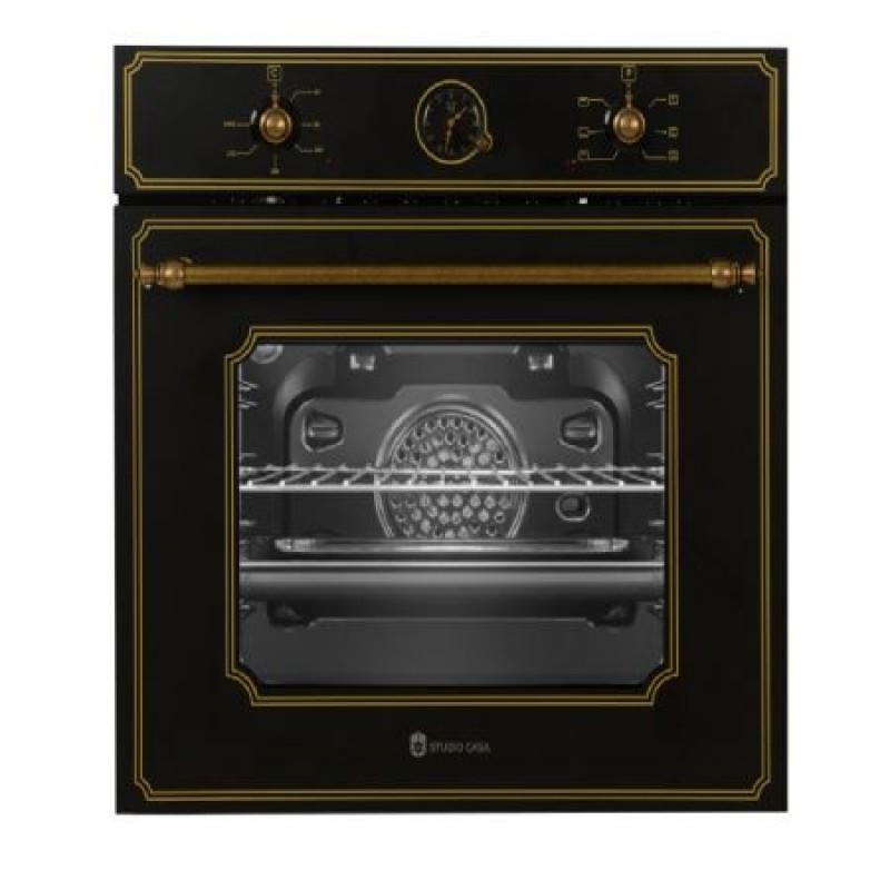 Pachet incorporabil cuptor electric ,plita gaz si hota telescopica Studio Casa Toscana Retro Black Rustic, Clasa A, Gratare fonta, Negru