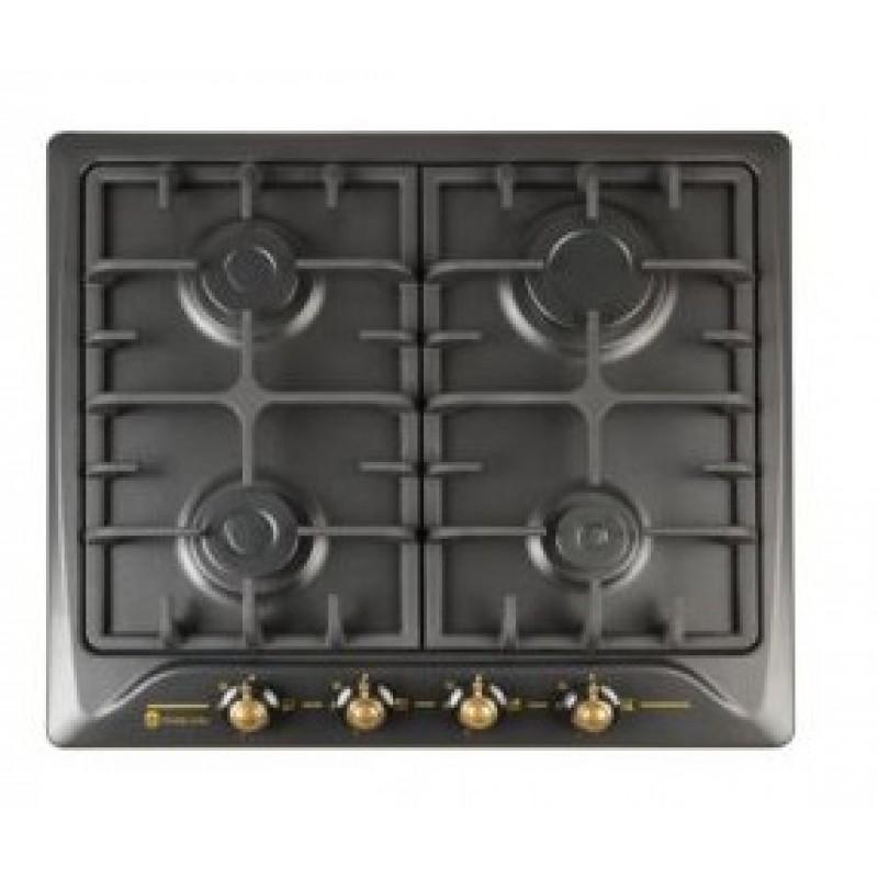 Plita Rustica Incorporabila, 4 arzatoare gaz, Studio Casa PG660 Toscana Black, Gratare fonta, Aprindere electrica, Valve de siguranta, Negru